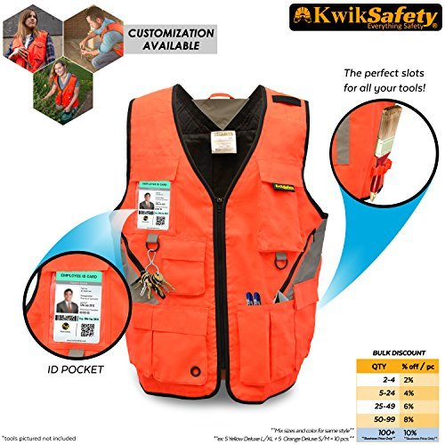 KwikSafety (Charlotte, NC) ARTISAN Tool Vest | Reflective Multi Pocket Lightweight Work Wear | Hi...