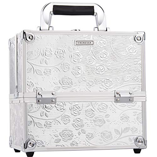 Grande mallette professionnelle pour maquillage et cosmétique en aluminium 9 compartiments Blanc Silver Rose 26*20*24 cm