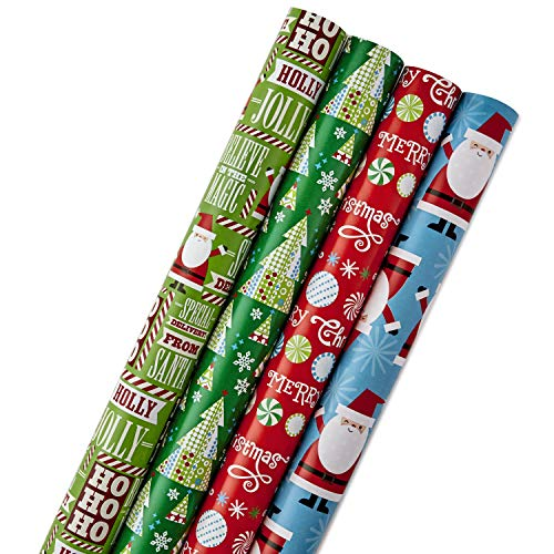 Hallmark Reversible Christmas Wrapping Paper Bundle, Santa and Trees (Pack of 4, 150 sq. ft. ttl.)