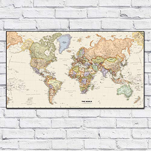 WXQHYD Wallpaper Paste Large Size Printing Oil Painting Legacy World Chart Wall Art Canvas Print Pictures For Living Room And Bedroom No Frame Hanging Paintings (Size (Inch) : 28X50)