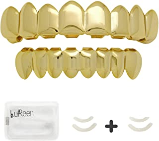 14k Gold 8 Top and Bottom Grills Set Shiny Hip Hop Teeth Grillz + Extra Molding Bars