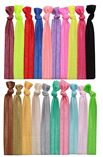 Syleia Pack of 20 Bright and Pastel Hair Ties Ponytail Holders Elastic Ribbon Band Crease Free Hand Knotted Fold Over Ouchless Strong Hold