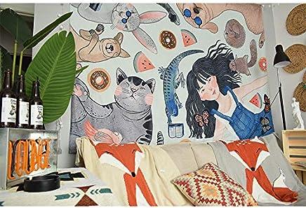 JTWJ 漫画の背景布insぶら下げ布女の子の心の部屋のレイアウトセンタペストリー寮賃貸住宅の改修 (Color : A-51.1X57.0in)