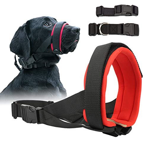 Gentle Dog Muzzle for Small, Medium, Large Dogs, Safely Secure Comfort Fit Muzzle to Prevent Barking, Biting and Unwanted Chewing, Soft Neoprene...
