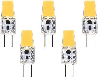 Bombilla LED G6.35/GX6.35, 3 W, 12 V, COB, luz blanca cálida, 3000 K, ángulo de haz de 360°, equivalente a lámpara halógena de 30 W para lámpara de escritorio, lámpara halógena JCD (5 unidades)