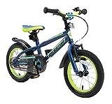BIKESTAR Bicicleta Infantil para niños y niñas a Partir de 4 años | Bici de montaña 14 Pulgadas con Frenos | 14' Edición Mountainbike Azul Verde