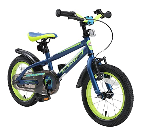 BIKESTAR Kinderfahrrad 14 Zoll für Mädchen und Jungen ab 4 Jahre | Kinderrad Urban Jungle | Fahrrad für Kinder Blau & Grün