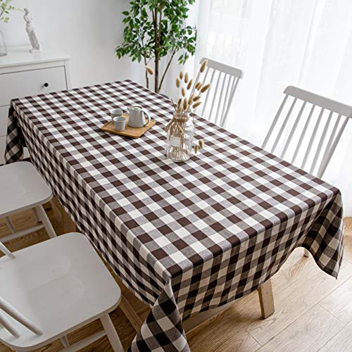 Aquazolax Rectangle Cloth Gingham Tablecloth 6ft Long Buffalo Plaid Pattern Table Covers for Campfire Picnic Barbecue, 54 by 72 inches, Brown