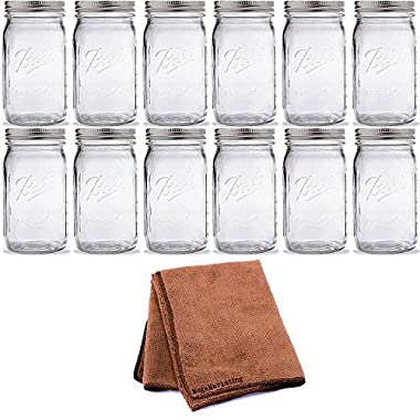 Ball Quart Jar with Silver Lid, Wide Mouth, Set of 12 Jar with Cleaner Cloth
