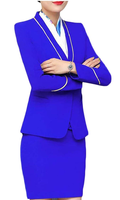 Fly Year-JP 女性のツーピースビジネスドレススカートスーツは、オフィスレディスリムフィットブレザースカートを設定