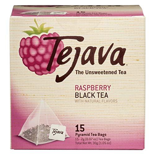 Tejava Raspberry Unsweetened Black Tea Pryamid Bags, Non-GMO Verified, Rainforest Alliance Certified, 15 Count