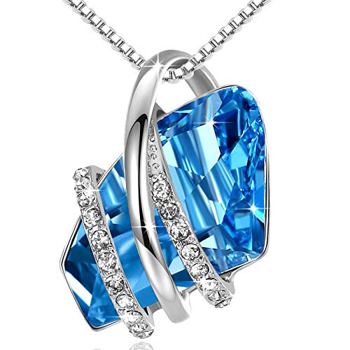 Leafael Wish Stone Silvertone Pendant Necklace Made with Swarovski Crystals Aquamarine Blue March December Birthstone 18quot 2quot