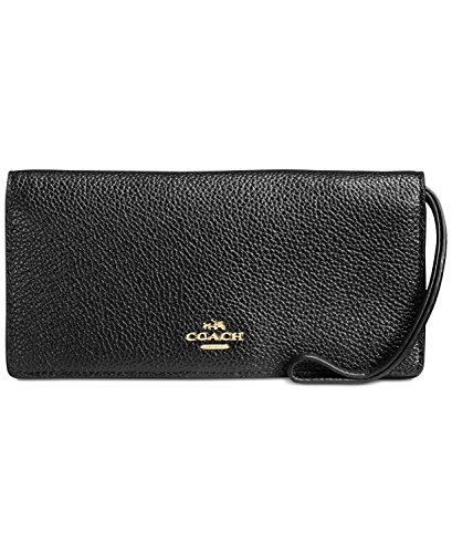 Coach Portemonnaie, Pebble Leather, schwarz, 57873