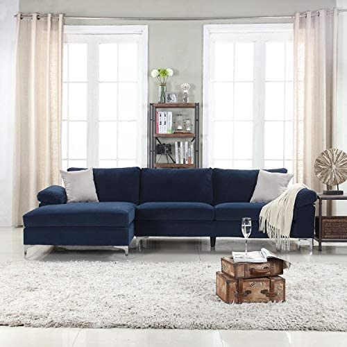 Best Divano Roma Furniture Modern Large Velvet Fabric Sectional Sofa, L-Shape Couch with Extra Wide Chais