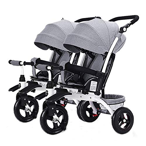 Buy Baby Stroller YXGH@ Children's Double Tricycle Portable Two-Seater Sliding Baby Artifact Twin Fo...