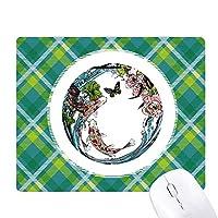 鯉牡丹のロータス・パターンの幾何学 緑の格子のピクセルゴムのマウスパッド