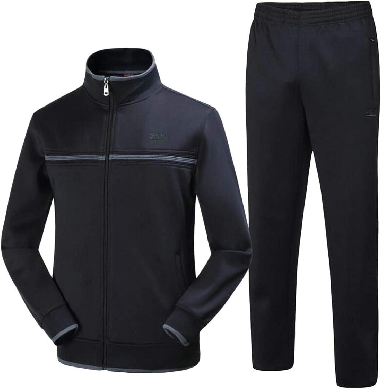 LKCENCA Mens Casual Jogging TwoPiece Zippper Running Jogging Sports Tracksuit