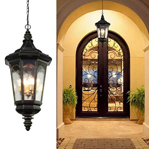 CattleBie 3-Lights, rústico iluminación al aire libre, luz pendiente de aluminio colgante de la linterna de cristal, lámpara colgante antiguo impermeable Pórtico de la linterna luces pendientes for Ex