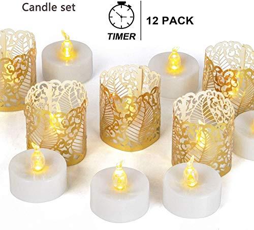 Vlamloze Tea Lights met Timer Tealights Long Lasting Electric Fake Kaarsen Realistische LED Flickering decoratie for partij en geschenken ideeën 12 stuks