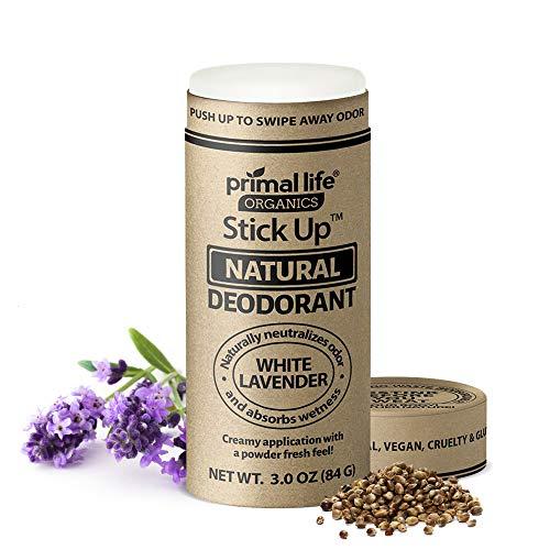 Stick Up Natural Deodorant for Women and Men with Bentonite Clay Powder, Arrowroot, Magnesium, Zinc, 3 oz. Vegan Deodorant for 3-4 months, White Lavender - Primal Life Organics