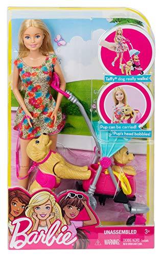 Barbie- Passeggiata coi Cuccioli Playset con Passeggino, Due Cani e Accessori, Giocattolo per Bambini 3+ Anni, CNB21