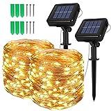 [2 Stück] Solar Lichterkette Außen, Opard 12M 120 LED 8 Modi IP44 Kupferdraht Lichterketten für...