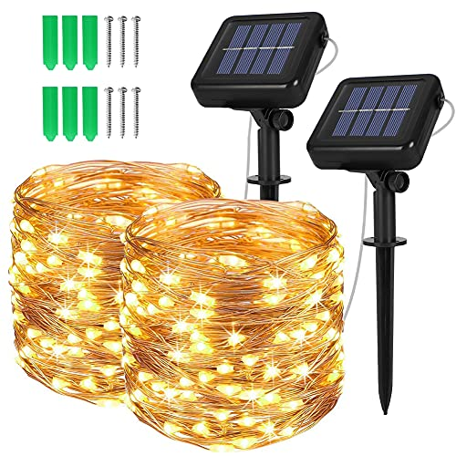 Opard Solar Lights Outdoor Garden, 120 LEDs 12M 8 Lighting Modes Copper Wire Solar Fairy Lights IP44 Waterproof for Patio, Garden (Warm White, 2 Pack)