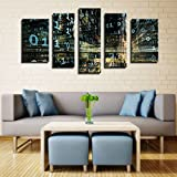 Melody Art - Canvas Paintings of Information Physics Programming Code Numbers Tunnels 3d Light Psychedelic Computer Art Wall Prints Framed and Stretched Ready to Hang , 5 Panels