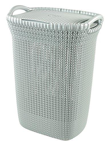 Curver Knit Laundry Storage Hamper, Misty Blue, 57 Litre