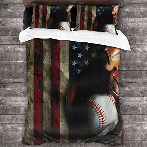 KDRW American Flag Baseball 3 Pieces Bed Sheet Set Comfortable Premium Bedspread Coverlet Set with Invisible Zipper Antistatic 3-Piece Comforter Sheet Set Breathable Soft Quilt Set 86'' X70