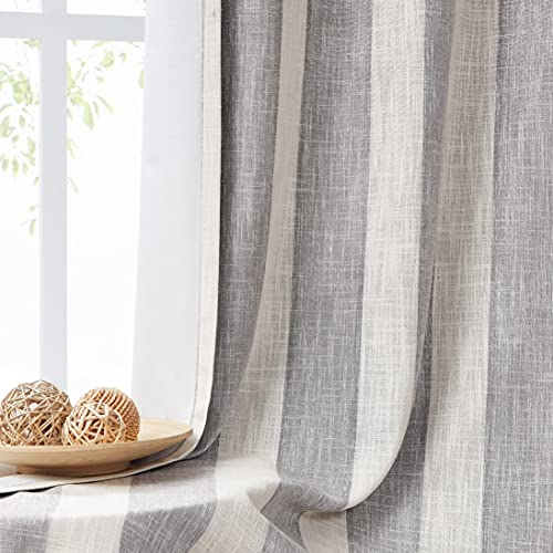 WEST Lake Full Blackout Curtain Panels Grey White Vertical Stripe Window Treatment Set Grommets Thermal Insulated Noise Reducing 100% Blackout Drapes for Living Room, Bedroom,50''x84'',1 Panel, Gray