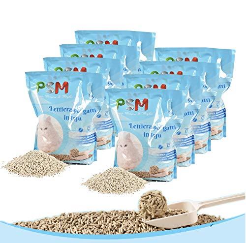 BPS PET SHOP Lettiera Gatto Tofu Agglomerante 48LITRI (Set 8 Sacchi da 6 Litri) smaltibile WC Sabbia Lettiera Gatto Vegetale Biodegradabile Senza Polvere e Senza odori