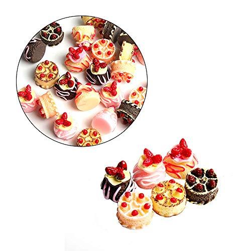 Wixine 6Pcs Dessert 3D Resin Cream Cakes Miniature Food Dollhouse Accessories