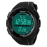 BHGWR - Montre de sport numérique pour homme–Étanche 5ATM - style militaire - montre avec alarme/minuteur, indicateur de signal horaire (SIG), Affichage LED, grand cadran, noir