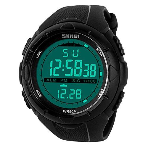 uomo sport orologio digitale - 5 barre impermeabile militare digitale orologi con allarme timer Sig, nero grande Face Outdoor sport LED orologio da polso da uomo ragazzo ragazzi di BHGWR