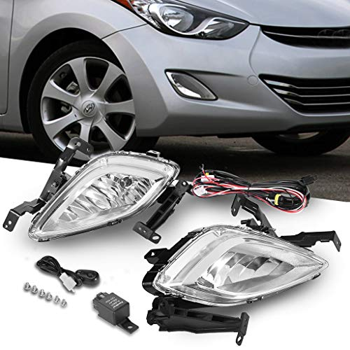 Upgrade Fog Lights Lamp Clear Pair Replacement for 2011-2013 Hyun-dai Elantra