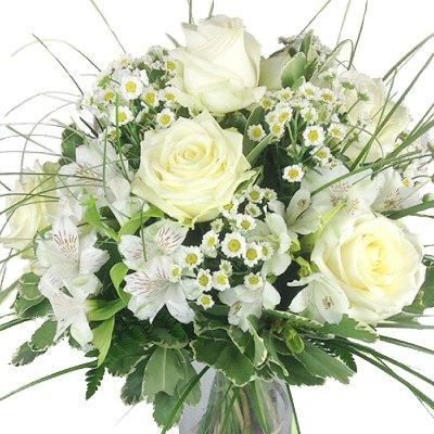 XL Premium Blumenstrauß Eleganz - Strauß mit weißen Edelrosen