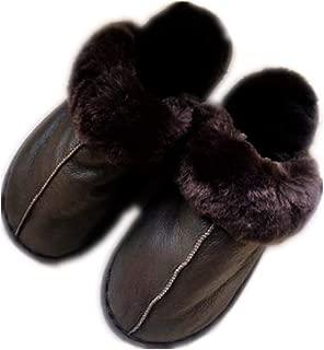 QMFUR Women Slip On Sheepskin Slipper Fur Slipeprs Warm Winter Fluffy Memory Foam Comfy Shoes