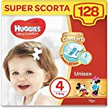 Huggies Pannolini Ultra Comfort, Taglia 4 (7-18 Kg), Confezione da 128 Pannolini