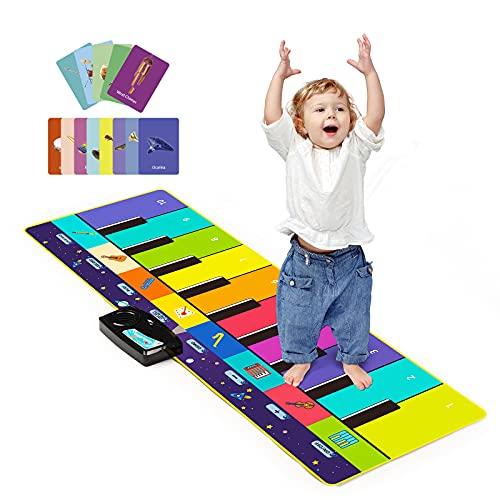 Joyjoz Kids Music Mat with 100+ Sounds, Piano Dance Mat Upgraded 4 Modes, Children Keyboard Mat Instruments Musical Playmat for Kids Boys Girls (110*36cm)