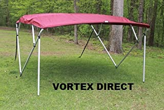 Vortex Burgundy Square Tube Frame 4 Bow Pontoon/Deck Boat Bimini TOP 8' Long, 91-96