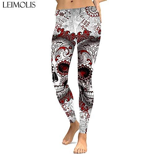 LEIMOLIS Yoga Hosen Leggings Printed 3D Sexy Gothic Flower Skull Print Push Up Leggings Plus Größe Frauen Fitness Workout Punk Hohe Taille...