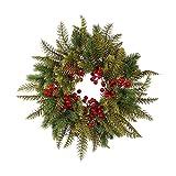 JSONA Guirnalda de Puerta de Navidad Decoración Colgante Guirnalda de Cosecha Adorno de otoño Decoración al Aire Libre para la Pared del hogar Colgante Decorativo Regalo de Fiesta-con luz