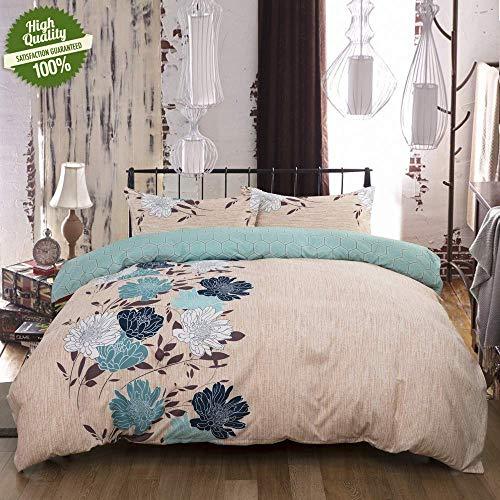 JALAL Bettbezug-Set 3-teiliges Bettbezug-Set mit Bettbezug mit Blumendruck für EIN Kingsize-Doppelbett mit 2 Kissenbezügen 1 x Steppdecke