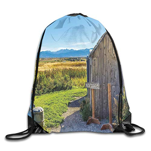 Drawstring Gym Bag Backpack,Old Rustic Wooden Cottage Barn Shed In A Farm Village Image,Rucksack for School Sports Travel Women Children Birthday Present