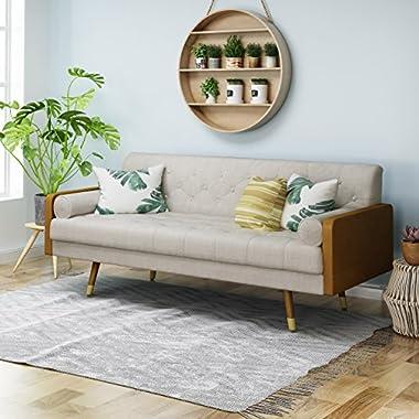 Aidan Mid Century Modern Tufted Fabric Sofa, Beige