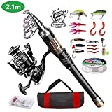 ShinePick Fishing Rod Kit, Telescopic Fishing Pole and Reel Combo Full Kit with Line Lures Hooks Carrier Bag for Travel Saltwater Freshwater Boat Fishing Beginners(2.1M)