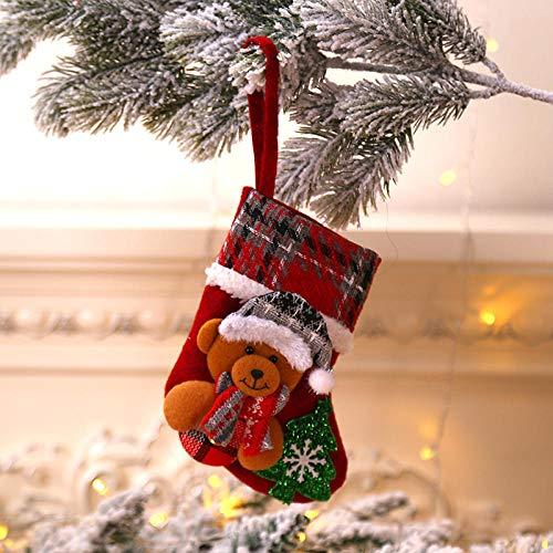 xingshen Plaid Pattern Pupazzo di Neve Elk Doll Calze Natalizie Sacchetto Regalo Camino Decorazione Domestica Albero di Natale Appeso Candy Sock-Orso