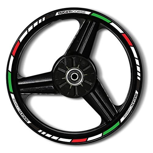 Zerald adesivi per cerchi di ruote di moto riflettente 17 pollici adesivi ruota tecnologia 3M di alta qualità (Italia)