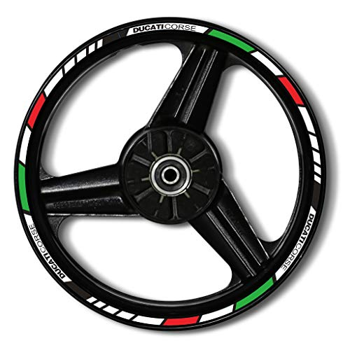 Zerald Pegatinas para Llantas de Moto Reflectante 17 Pulgadas Compatible con Ducati Adhesivos Ruedas tecnología 3M (Italia)